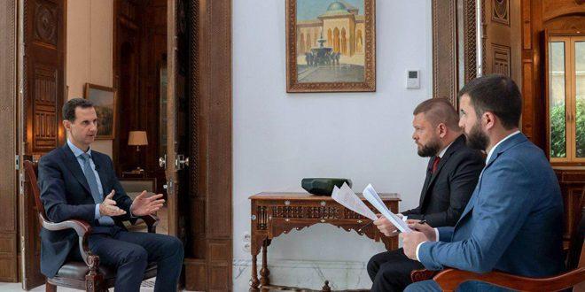 الرئيس الأسد في حوار مع قناة روسيا (24) ووكالة روسيا سيفودنيا: الوجود الأمريكي في سورية سيولد مقاومة عسكرية تؤدي إلى خسائر بين الأمريكيين وخروجهم