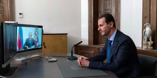 الرئيس الأسد خلال اتصال مع الرئيس بوتين عبر تقنية الفيديو كونفرانس: المؤتمر الدولي لعودة اللاجئين بداية لحل هذه المسألة الإنسانية والعدد الأكبر من اللاجئين يرغب بالعودة إلى سورية